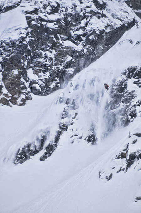 """Griffin Post of Jackson Hole, Wyoming, sails his way into 5th place. Photographer Kip Wiley said of this image: """"I feel this image really captures the day. It shows the wild terrain the skiers had to work with and the big air that thrilled the crowd."""" Photo courtesy of Kip Wiley"""