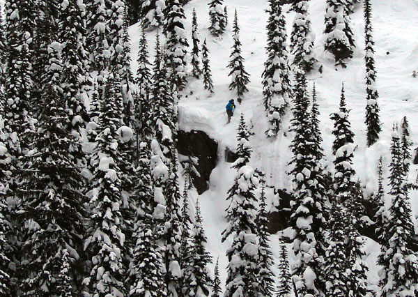 Local skier CJ Wright performing a pillow drop on the bottom section of the course. Karen McColl photo
