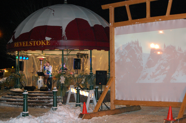 The audience at Saturday's Street Party listened to The Rev and watched video taken at the World Freeskiing Tour at Revelstoke Mountain Resort. The freeskiing championship is to be completed today. David F. Rooney photo
