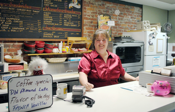 Conversations' Patti Campbell was ready to serve everyone on Dress Red Day. Karen McColl photo
