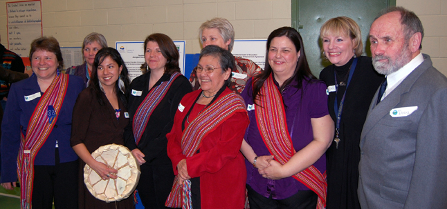 Members of the Aboriginal Education Enhancement Committee pose for a photo after the event. From left to right in front are: Brenda Percell, Jannica Hoskins-Doizi, Michelle Cole, Margaret Verhaeghe, Lynne Barisoff and Doug Hamilton. From left to righyt in back are: Sue Leach, Anne Cooper and Shan Jorgenson-Adam. David F. Rooney photo