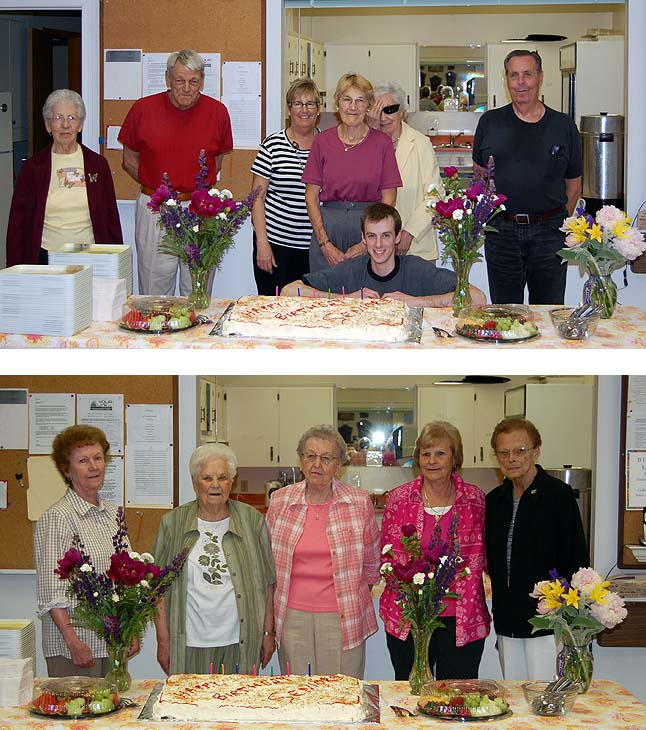 Happy Birthday, seniors! Once upon a time they were June and July babies. The June birthdays were celebrated (top image) by: Marion Jones, Bob Weber, Carol Sakamoto, Mary Doubert, Norma Sharp, Arnold Tallis and (in front and just because he shares a birthday with him) Bryan Tallis. The July birthdays were celebrated by Elsie Jamieson, Anne Gertzen, Anne Ozero, Rose Fowlie and Marlene MacQuarrie. David F. Rooney photo