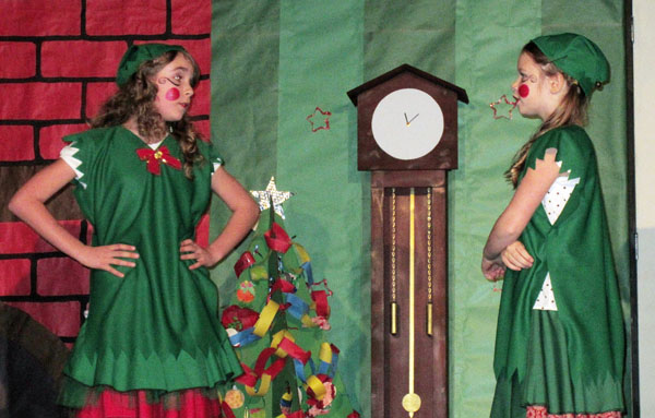 Arianna Marrone and Daisy Harrack play Felicity and Georgeann in the Arrow Heights Elementary School Christmas Production.  The Story Book Christmas Production happened on December 20th 2012.  Photo by Julian Corbett, caption by Griffin Velichko
