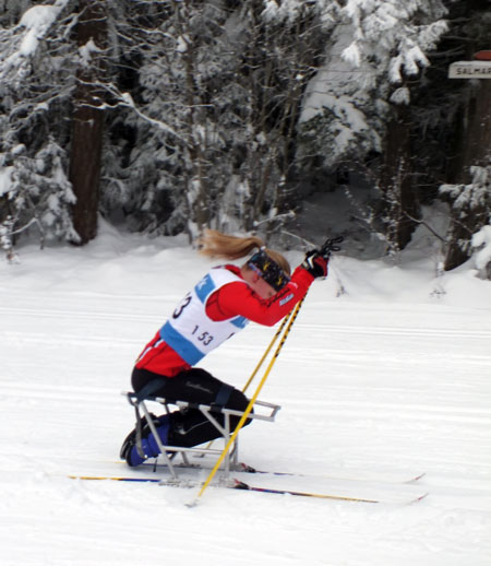 Emily Suchy performed extremely well on her sit ski. Photo courtesy of Sarah Newton