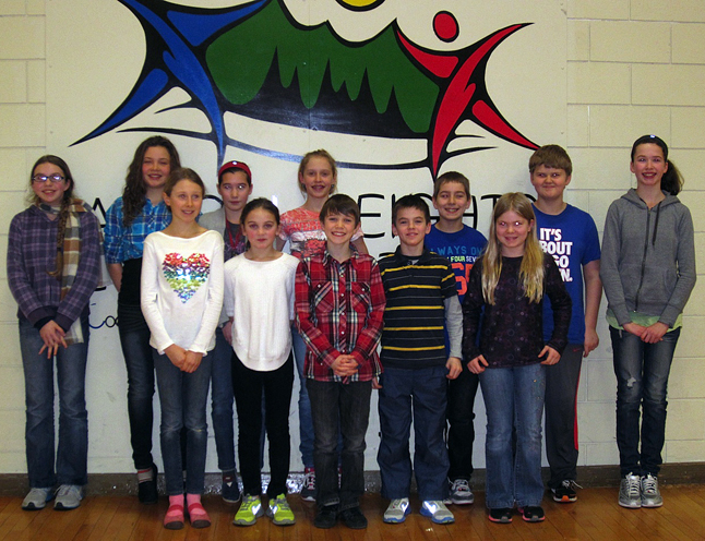 These are our 12 top competitors for the AHE Spelling Bee that was held on January 25 in the school gym. (Back Row, left to right) Alice Dunkerson, Alana Brittin, Zoe Kramer, Beth Granstrom, Cameron McTagart, David Kline, Jaimie Reynolds. (Front Row, left to right) Emily MacLeod, Kaity Herle, Griffin Velichko, Grady Powell, and Amelia Brown. Amelia claimed first place at the bee. Photo and caption by Julian Corbett
