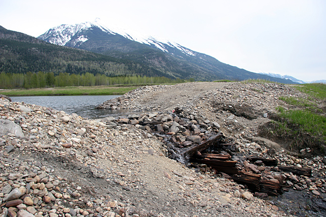 This is the old collapsed box culvert in the abandoned railbed that is creating the Cartier Bay wetland. As you can see it is slowly collapsing. Without remedial measures the wetland will be threatened. Photo courtesy of BC Hydro