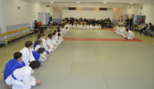 Kids from dojos (martial arts schools) across the Kooternays and Okanagan sit facing six black belts (right) at the randori held in Revelstoke on Saturday. Rob Serrouya photo
