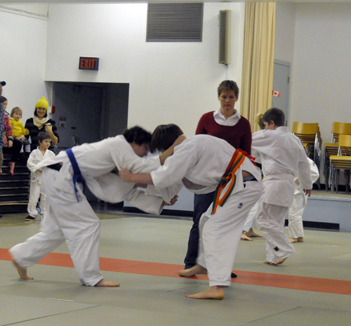 Bailey Leatherdale of Kelowna and Liam McCabe of Revelstoke grapple for advantage.. Radnoris are informal exhibitions that serve as ways for judo tracitiionters — judokas — to size each other up and to acquire new skills. David F. Rooney photo