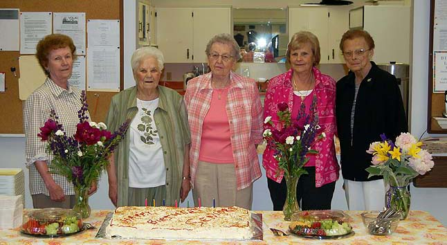 Here's Marlene (far right) celebrating her birthday in July 2010 at the Seniors' Centre with  Elsie Jamieson, Anne Gertzen, Anne Ozero, Rose Fowlie and Marlene MacQuarrie. Revelstoke Current file photo