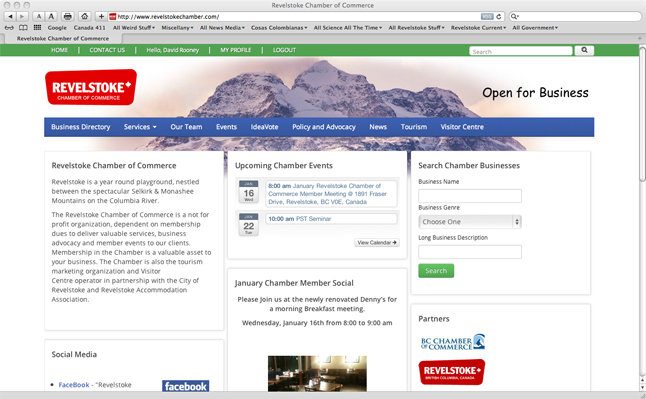 The Revelstoke Chamber of Commerce has redeveloped its website www.revelstokechamber.com. The new site is interactive and includes new tools to support its members. Revelstoke Current screen shot