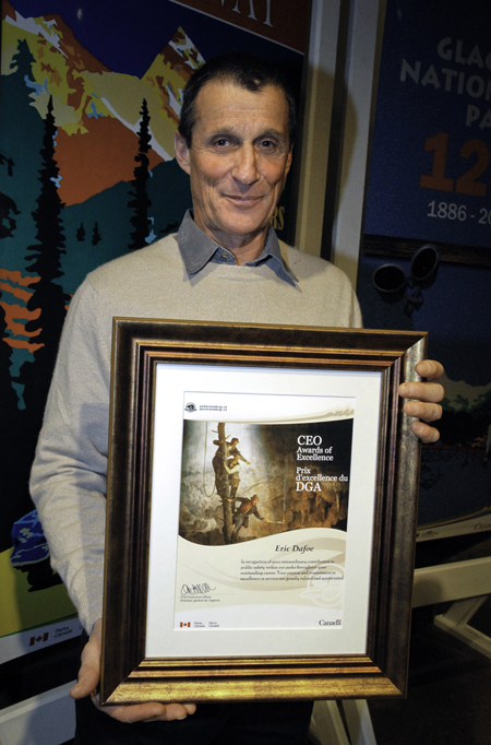 Eric Dafoe, Senior Avalanche Technician  for Mount Revelstoke and Glacier national parks, receives a CEO Award of Excellence for his outstanding career as Park Warden, Public Safety Specialist and Senior Avalanche Technician with Parks Canada. Rob Buchanan photo courtesy of Parks Canada
