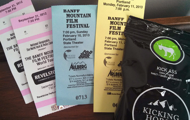 Rod and Brenda went to a showing last Saturday of the Banff Mountain Film Festival in Portland where guests also received some Kicking Horse coffee. Talk about nostalgia! Brenda Kessler photo
