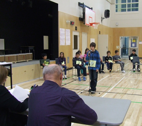 Colby Johnson aces one of his words in the Begbie View Spelling Bee last Friday. Revelstoke's elementary schools are choosing their best spellers for an upcoming district-wide spelling bee this month. Sarah Newton photo