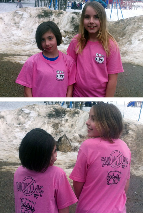 Kyahna Hammond (left) and Jessica McIntosh are pretty creative young ladies. The girls, who are in Grade 5 at Columbia Park Elementary School, designed the logos that were chosen to adorn the school's anti-bullying T-shirts for Pink Shirt Day, which was marked at schools across BC and the rest of the country. Well done girls! David F. Rooney photo