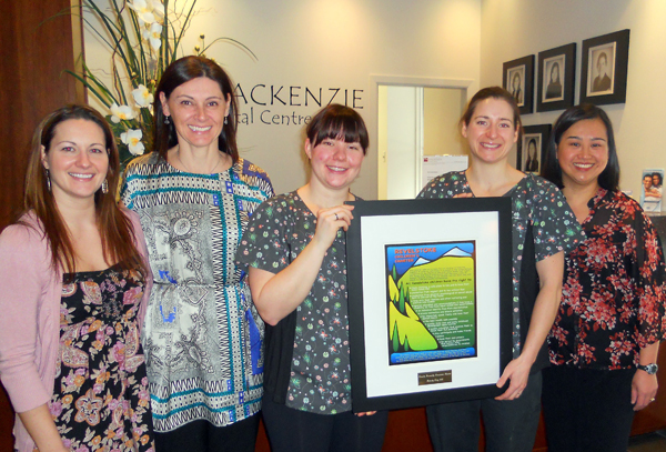 Dr. Philomena Gale and staff pose with their award as Revelstoke's most Family Friendly Business. Photo courtesy of the Revelstoke Early Childhood Development Committee