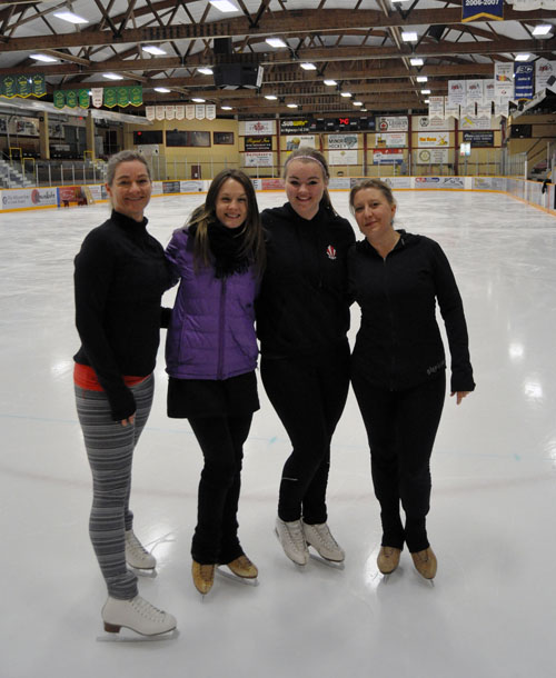 Revelstoke Figure Skating Head Coach Nina Greschner (second from the left) poses with some of the skaters who will be in the March 14 Heroes and Villains extravaganza. Cathy Cameron Suchy (left), her daughter Clara and Adrienne Schurdevin were practicing at the Forum on Saturday evening.  Adrienne and  and Clara are the club's Can. Heroes and Villains will take place at the Forum on March 14. Skate Coaches. David F. Rooney photo