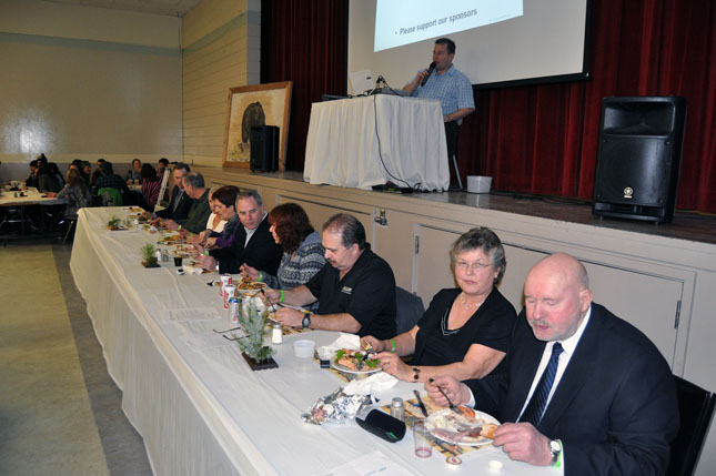 The head table included MLA Norm Macdonald (unfortunately, his wife, Karen got caught on the other side of Saturday's Trans-Canada Highway closure), Garry and Maryanne Krestinsky, Maria Stagliano, Mayor David Raven, Joanne and Bill Bosch of the BC Wildlife Federation and Bjorg and George Buhler. David F. Rooney photo