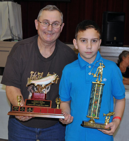 Matt Cadden took first place in the Junior Dolly Category for a 12 lb 7 ounce fish as well as the Harley Foat Memorial Trophy for the largest fish caught by a junior. That one weighed in at 12 lbs 10 oz. David F. Rooney photo