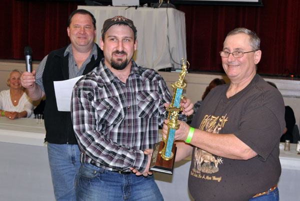 Franco Bafaro won the second-place trophy in the Men's Fishing Category for his 15 lb. 8 oz. rainbow. Barry Keates won first place with a 20 lb 4 oz. Dolly as well as second place for an 18 lb 12 oz Dolly and the Art Davis Memorial Trophy for that 20-pounder and the Hiebert-Mair trophy for the 18-pounder. Unfortunately he was not present and will collect his trophies at a later date. David F. Rooney photo