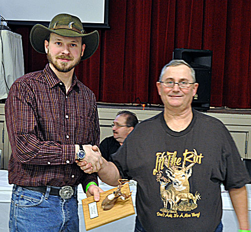 Kyle Buhler took second place for his 101 6/8 white tail. That prize was sponsored by Score Construction. David F. Rooney photo