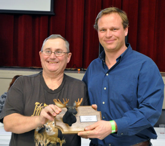 Mike Vopni picked up the second-place trophy for his 80 7/8 moose. That trophy was sponsored by K&W Trucking. David F. Rooney photo