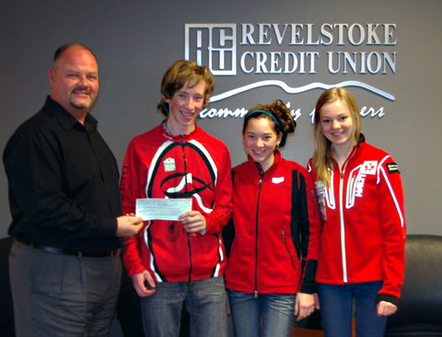 Revelstoke Nordic Ski team representatives Daniel Blackie, Tayla Koerber, and Emily Suchy accept a cheque for $500.00 from Todd Webber, manager for Human Resources & Marketing at the Revelstoke Credit Union. The money will support athletes going to the cross country ski National race event in The Callaghan Valley near Whistler, in March. Athletes attending the Nationals will compete and train for over a week at the end of March. Also racing from Revelstoke but not pictured, are Gordon Masson, Megan Evans, and Brittany Evans. Thank You Revelstoke Credit Union! Lucie Bergeron photo