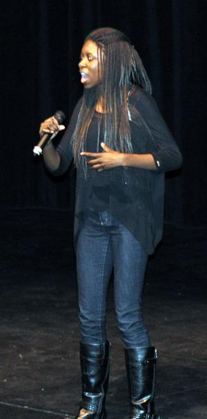 Paige Makarewicx sings Titanium to the appreciative audience. David F. Rooney photo