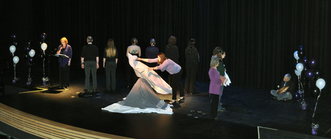 The Blanket Skit illustrated how people's pre-conceptions and misperceptions about abuse can muffle the desperate pleas of women who are abused. David F. Rooney photo
