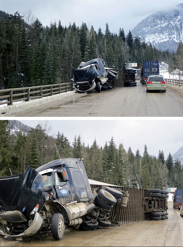 "These photos show the results of an accident at Albert Canyon last Wednesday. ""This driver was lucky not to end up in the river below,"" said Sylvain Hebert who took these images. ""As an avalanche forecaster for CP rail, the most dangerous part of my work is driving back and forth on the highway."" The Trans-Canada Highway is a very dangerous roadway. Photos courtesy of Sylvain Hebert"