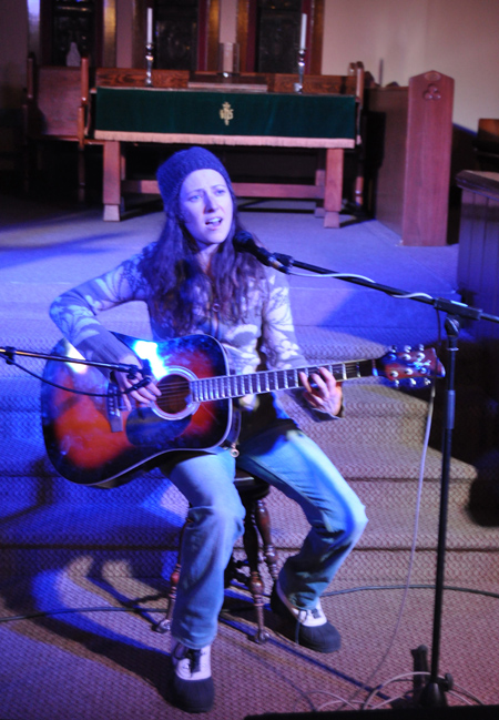 Anna Fin sings and plays guitar during the Youth Jam at the United Church on Friday evening. Alas for Anna this was a poorly attended event. She was, nonetheless, a lovely singer. David F. Rooney