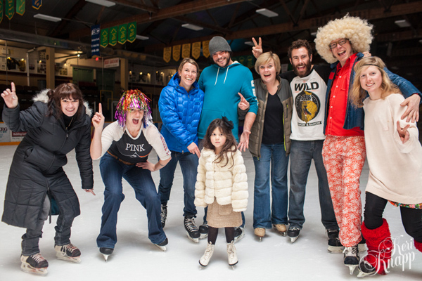 The Gang on Skates! at the Disco Funk Skating Party at the Forum after the Carousel of Nations.  That's Madeline Skerry in front during her first time on skates. Keri Knapp photo