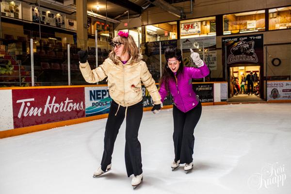 Jessica Klikach and Allison Lambert race out to centre ice. Keri Knapp photo