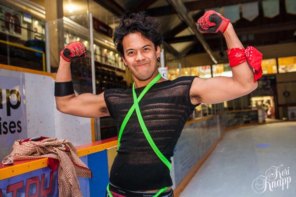 Tony Flashes his muscle at the rink. Keri Knapp photo