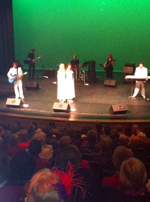 ABBA Again played to a packed house at the Performing Arts Centre on Thursday. Cellphone camera photo by Emma Kirkland