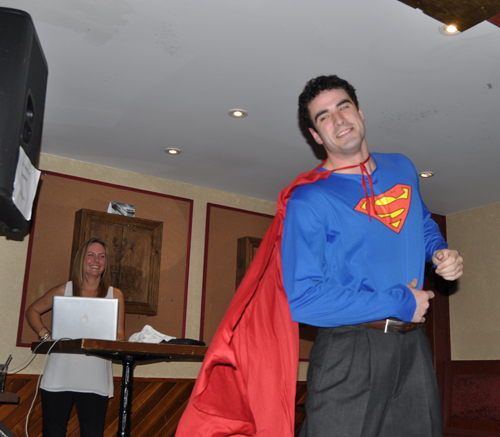 Cole lacked a phone booth for his transformation into a caped crusader but he pulled it off well. David F. Rooney photo
