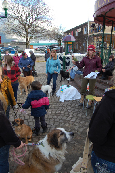The very first Best In Show contest to determine Revelstoke's Top Dog brought a very large and enthusiastic crowd. Here, organizer and judge Amy Flexman tells dog owners how their pooches will be judged. David F. Rooney photo