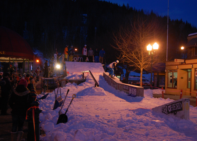 This photo, taken at about 5:30, shows a boarder testing the run. David F. Rooney photo