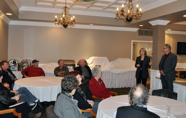 Participation in the Ministry of Transportation's Public Consultation is a key element of the Kamloops-to-Alberta Trans-Canada Highway twinning program, says Transportation Minister Mary Polak. She was accompanied by BC Liberal candidate Doug Clovechok during her talk with a crowd of 33 people at the Regent Inn on Tuesday evening. David F. Rooney photo