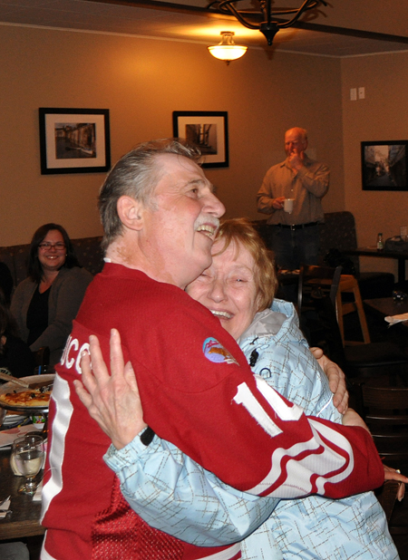 Dennis and Glenalee were ecstatic when they learned Dennis had won $20,000 for Revelstoke Minor Hockey. David F. Rooney photo