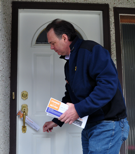 When nobody's home you leave a flyer. It's not as good as a face-to-face with a candidate but it does provide them with the message a political leader wants them to read. David F. Rooney photo