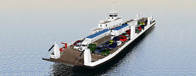 NAKUSP — Delays and slow passage times from Shelter Bay to Galena are about to be irritants of the past once the new ferry, shown here in an artist's conception, is completed  and launched from here into the Columbia River. Artist's conception courtesy of WaterBridge Steel Inc.