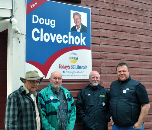 Revelstoke BC Liberals Peter Bernacki and George Buhler opened up their party's campaign office at 308 First Street West with a little help from Todd Mitchell and Grant Costello. The four men have, along with BC Liberal candidate Doug Clovechok, been working hard to defeat incumbent MLA Norm Macdonald of the New Democratic Party. Clovechok will be in Revelstoke for a week of non-stop campaigning starting on April 16. Voters across the province go to the polls on May 14. David F. Rooney photo