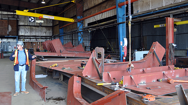 NAKUSP — Harding talks about how the pre-cut steel portions of the new ferry are shipped to WaterBridge's waterside facility for assembly. David F. Rooney photo