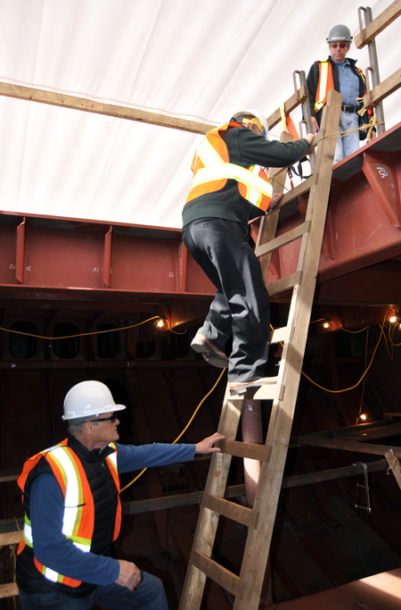 NAKUSP — From the engine room, the visitors climbed a ladder to the vehicle deck. David F. Rooney photo