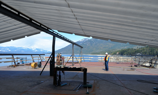 NAKUSP — This is the vehicle deck for the new ferry. When it is finally completed in July the vessel will be 320 feet long, 64 feet wide and weigh approximately 2.5 million pounds — that's 1,100 metric tons.  David F. Rooney photo