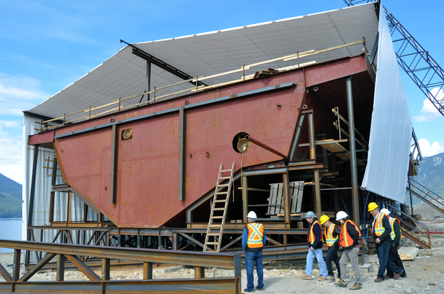 NAKUSP — More portions need to be added to the bow and stern of the ship before it can be launched into the Columbia River. David F. Rooney photo