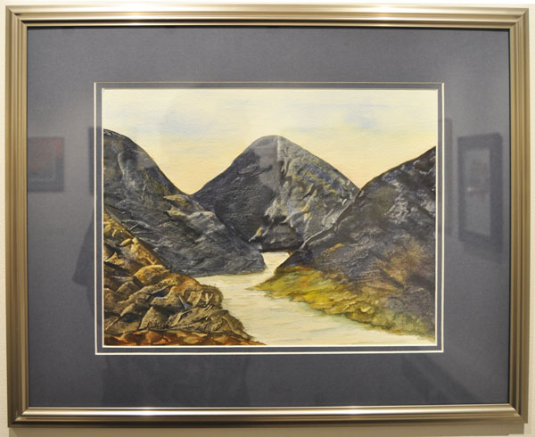 Del Peressini used watercolours — and a credit card — to create this textured painting called Lost Valley. David F. Rooney photo