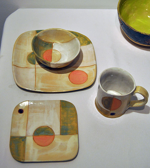 Now these are very cool — and quite retro — ceramics by Sandra Flood, that harken back to the late 1950s and early 60s when unbreakable Melmac dinner ware bearing designs such as these were found in just about every Canadian home. David F. Rooney photo