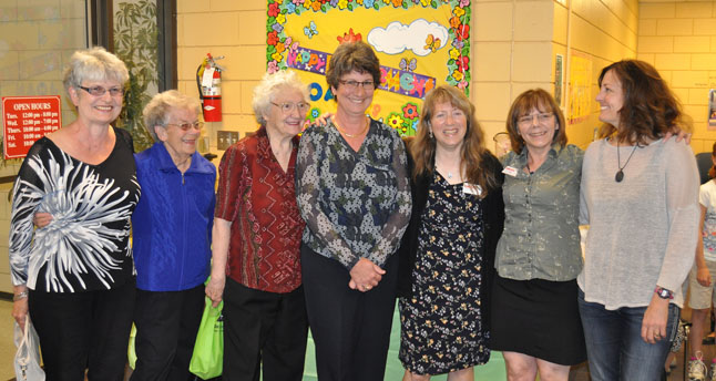 The party was organized by former library staff — Gerri Farren, Mary McAskill and Mary Doebert — and current staff members Lucie Bergeron, Zoe Knuff and Susan Knight. David F. Rooney