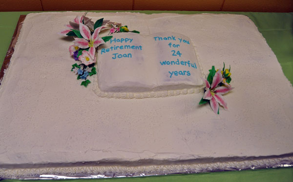Kathy Bracken produced this delicious cake for Joan's last day at work. David F. Rooney photo